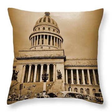 Changing A Tire In Front Of The Capitol Building In Havana Throw Pillow by John Malone