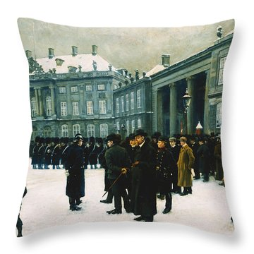 Changing Of The Guard At Amalienborg Palace Throw Pillow by Paul Fischer