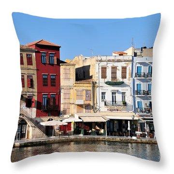 Chania City Throw Pillow by George Atsametakis