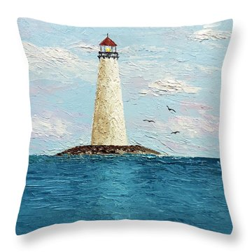 Throw Pillow featuring the painting Channel Lighthouse by Jimmie Bartlett