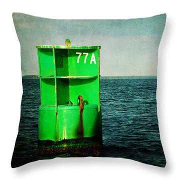 Channel Marker 77a Throw Pillow by Rebecca Sherman