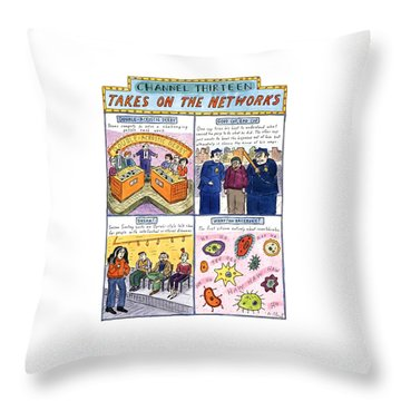 Channel Thirteen Takes On The Networks Throw Pillow