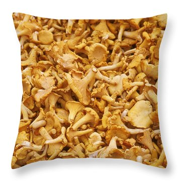 Chanterelle Mushroom Throw Pillow by Anonymous