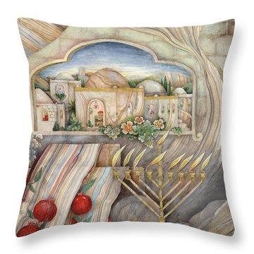 Chanukah Throw Pillow by Michoel Muchnik