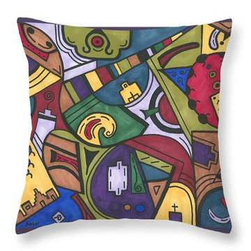 Chaos In The Hood Throw Pillow by Susie WEBER