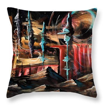 Chaotic Landscape Throw Pillow