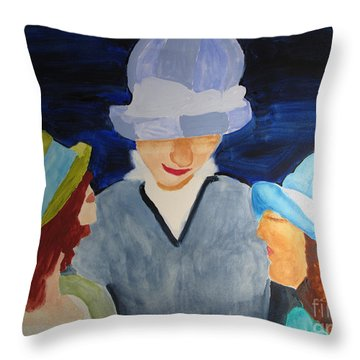 Throw Pillow featuring the painting Chapeaux Trois by Sandy McIntire