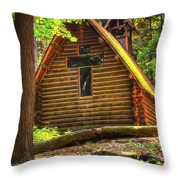 Chapel In The Pines Throw Pillow by Randy Pollard