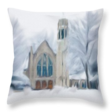 Chapel In The Snow Throw Pillow