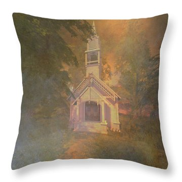 Chapel In The Wood Throw Pillow by Kylie Sabra