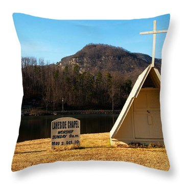 Throw Pillow featuring the photograph Chapel Lake Lure North Carolina by Bob Pardue