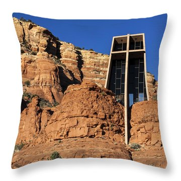 Chapel Of The Holy Cross Throw Pillow by Fred Larson