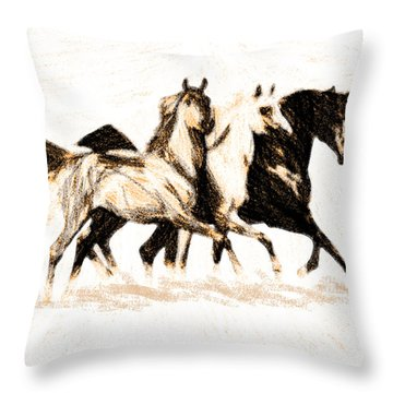 Charcoal Horses Throw Pillow