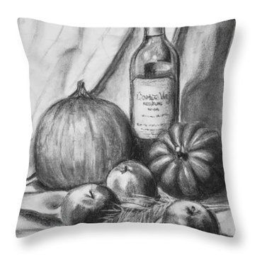 Throw Pillow featuring the drawing Charcoal Still Life Harvest by Dee Dee  Whittle