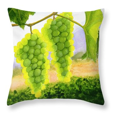 Chardonnay Grapes Throw Pillow by Mike Robles