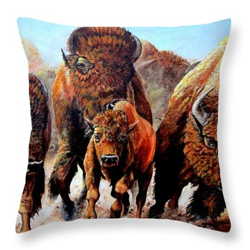 Charging Buffalo Throw Pillow