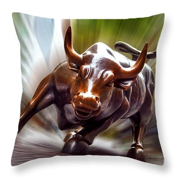 Charging Bull Throw Pillow