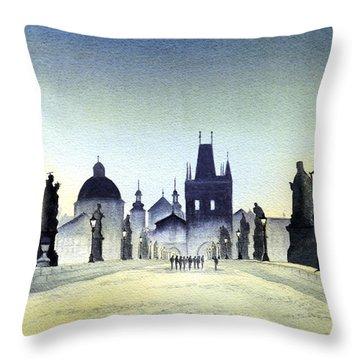 Charles Bridge Throw Pillow by Bill Holkham