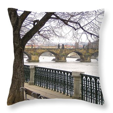 Charles Bridge  Throw Pillow by Suzanne Oesterling