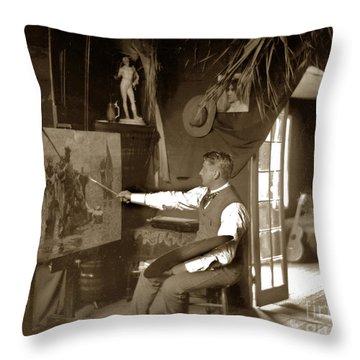 Charles Dickman Artist Monterey California Circa 1907 Throw Pillow by California Views Mr Pat Hathaway Archives