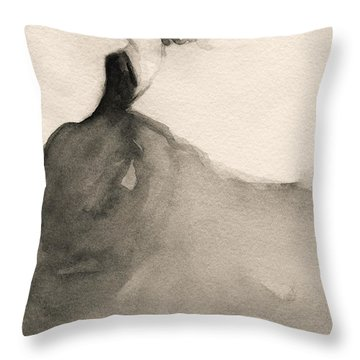 Charles James Swan Gown - Fashion Illustration Art Print Throw Pillow