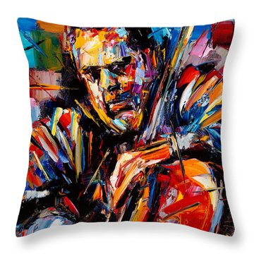 Charles Mingus Throw Pillow by Debra Hurd