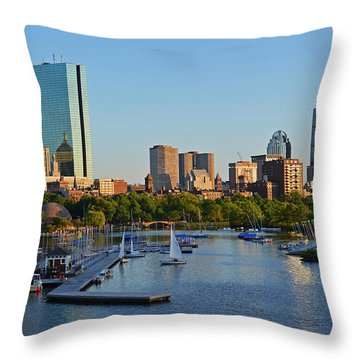 Charles River At Sunset Throw Pillow
