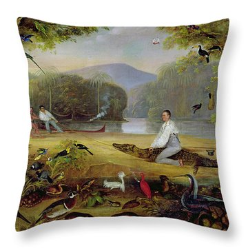 Charles Waterton Capturing A Cayman, 1825-26 Throw Pillow by Captain Edward Jones