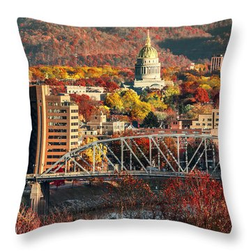 Charleston And Wv Capitol Throw Pillow by Mary Almond