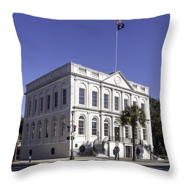 Charleston City Hall Throw Pillow by Lynn Palmer