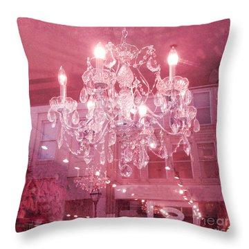 Charleston Crystal Chandelier - Sparkling Pink Crystal Chandelier Art Deco Throw Pillow