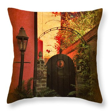 Throw Pillow featuring the photograph Charleston Garden Entrance by Kathy Baccari