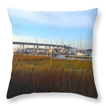 Charleston Harbor And Marsh Throw Pillow