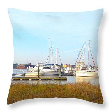 Charleston Harbor Boats Throw Pillow