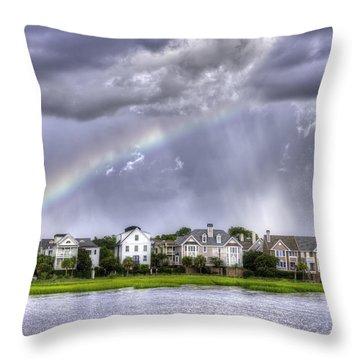 Charleston Rainbow Homes Throw Pillow by Dustin K Ryan
