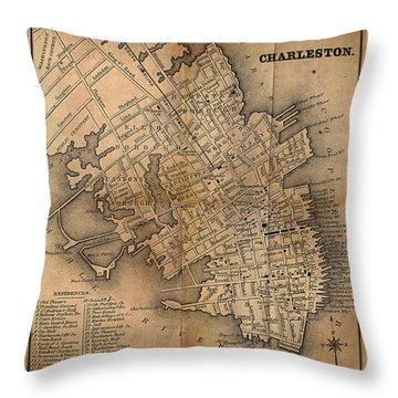 Charleston Vintage Map No. I Throw Pillow
