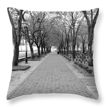 Charleston Waterfront Park Walkway - Black And White Throw Pillow
