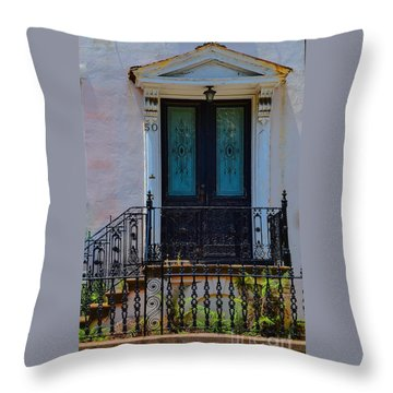 Charleston Wood Door Etched Glass Throw Pillow