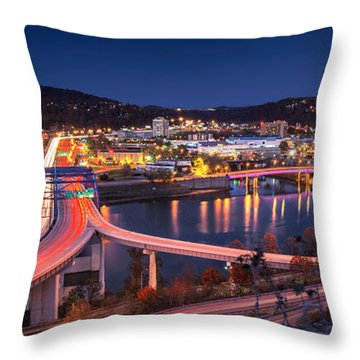 Charleston Wv At Night Throw Pillow by Mary Almond