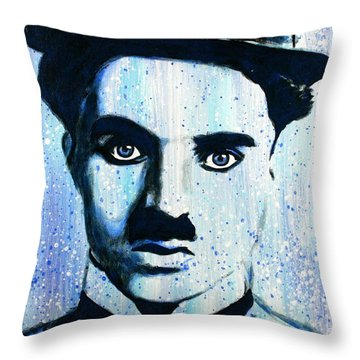 Charlie Chaplin Little Tramp Portrait Throw Pillow