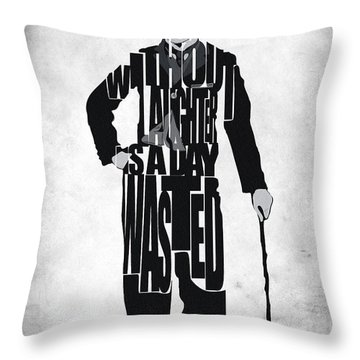 Charlie Chaplin Typography Poster Throw Pillow