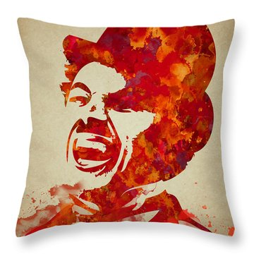 Charlie Chaplin Watercolor Painting Throw Pillow