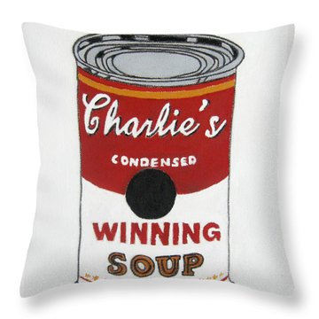 Charlie Sheen Soup Throw Pillow by Venus