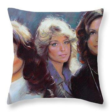 Charli's Angels Kate Jackson Farrah Fawcett Jaclyn Smith Throw Pillow by Viola El