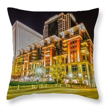 Charlotte City Skyline Night Scene Throw Pillow