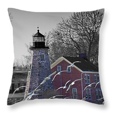 The Charlotte Genesee Lighthouse Throw Pillow by Richard Engelbrecht
