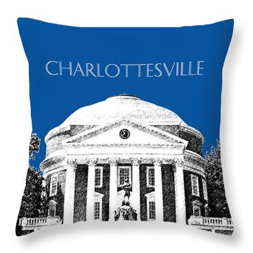 Charlottesville Va Skyline University Of Virginia - Royal Blue Throw Pillow by DB Artist