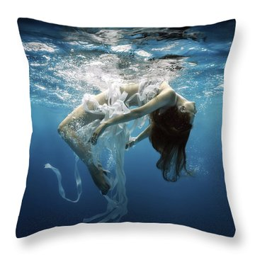 Blue Hair Throw Pillows