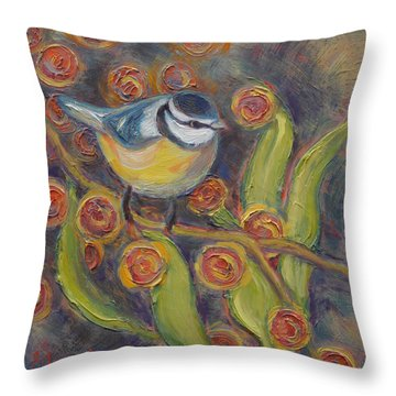Charmed Chickadee Throw Pillow