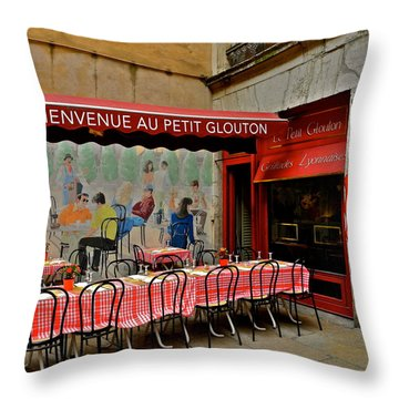 Charming French Outdoor Cafe Throw Pillow by Kirsten Giving